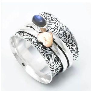 .925S Sterling Silver Labradorite Spinner Ring